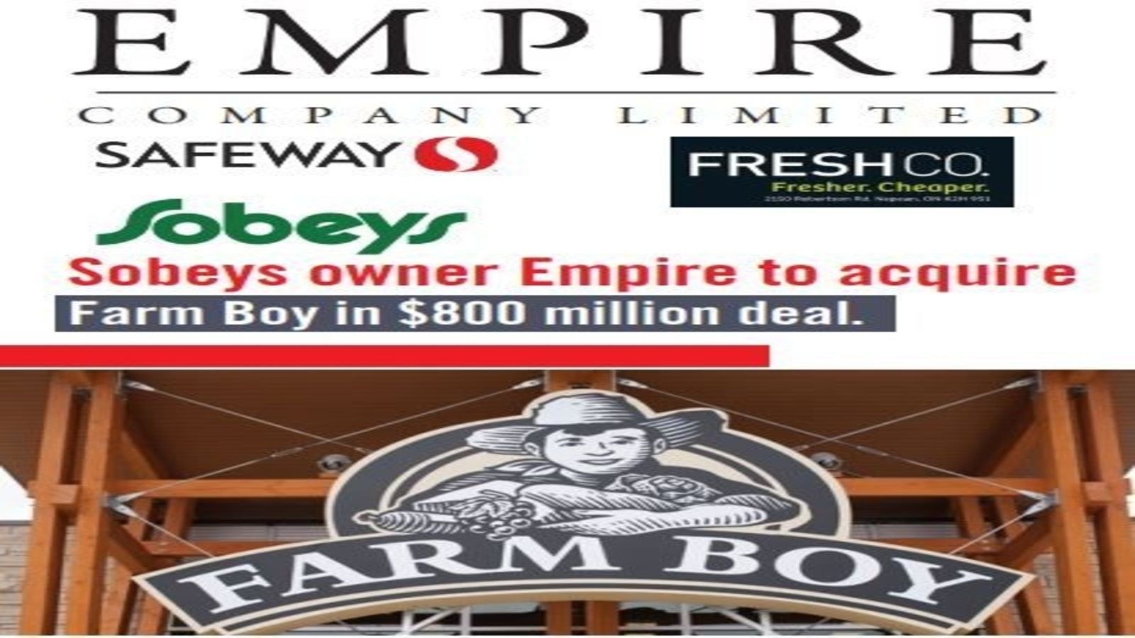SOBEYS OWNER EMPIRE TO ACQUIRE FARM BOY IN $800 MILLION DEAL