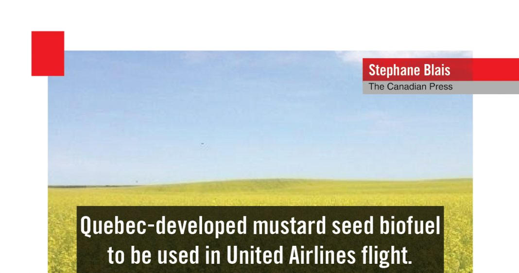 QUEBEC - DEVELOPED MUSTARD SEED BIOFUEL TO BE USED IN UA FLIGHT
